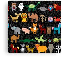 Animals on black background Canvas Print