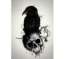 Raven and Skull Photographic Print
