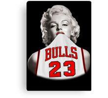 Marilyn 23 Bulls Jersey Black Background Canvas Print