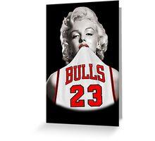 Marilyn 23 Bulls Jersey Black Background Greeting Card