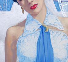 """Elizabeth Taylor"", Old Hollywood, celebrity portrait, painting, white, blue, silver, ocher Sticker"