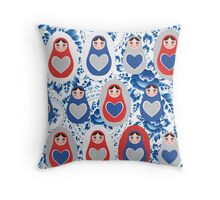 Russian Matryoshka with hearts Throw Pillow