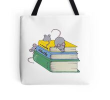 Cute Mice on Stack of Books, Reading, Original Art Tote Bag
