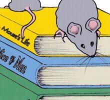 Cute Mice on Stack of Books, Reading, Original Art Sticker