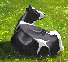 Holstein Dairy Cow Painting, Black and White Cow by Joyce Geleynse