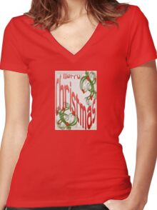 Merry Christmas With Stylized Holly Greeting Card Women's Fitted V-Neck T-Shirt