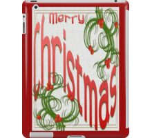 Merry Christmas With Stylized Holly Greeting Card iPad Case/Skin