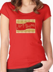 Red Merry Christmas Banner On Gold With Snowflakes Women's Fitted Scoop T-Shirt