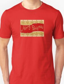 Red Merry Christmas Banner On Gold With Snowflakes Unisex T-Shirt