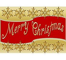 Red Merry Christmas Banner On Gold With Snowflakes Photographic Print
