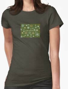 To Grandad At Christmas Greeting With Snowflakes  Womens Fitted T-Shirt
