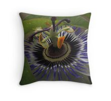 Front View of Beautiful Passiflora Flower Throw Pillow