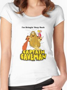 """Captain Caveman """"I'm Bringin' Sexy Back"""" Women's Fitted Scoop T-Shirt"""