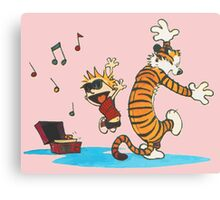 calvin and hobbes dancing with music Canvas Print