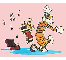 calvin and hobbes dancing with music Photographic Print