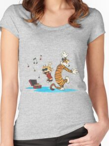 calvin and hobbes dancing with music Women's Fitted Scoop T-Shirt
