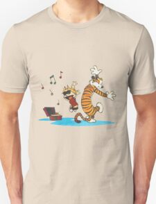 calvin and hobbes dancing with music Unisex T-Shirt