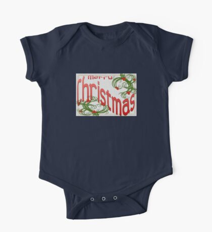 Merry Christmas With Stylized Holly Greeting One Piece - Short Sleeve