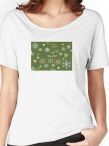 To Dad At Christmas Greeting With Snowflakes Women's Relaxed Fit T-Shirt