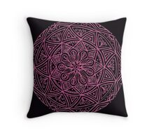 Black Background Mandala - Pink Throw Pillow