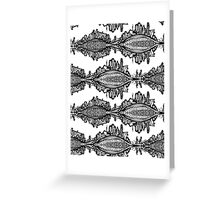Fox Doodle Symbol Black and White Willage Greeting Card