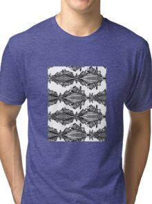 Fox Doodle Symbol Black and White Willage Tri-blend T-Shirt