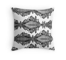 Fox Doodle Symbol Black and White Willage Throw Pillow