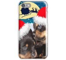 Puppy Christmas: I saw Mummy Kissing Santa Claus Vector iPhone Case/Skin
