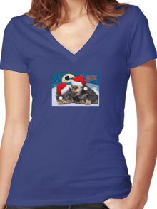 Puppy Christmas: I saw Mummy Kissing Santa Claus Vector Women's Fitted V-Neck T-Shirt