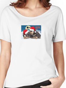 Puppy Christmas: I saw Mummy Kissing Santa Claus Vector Women's Relaxed Fit T-Shirt