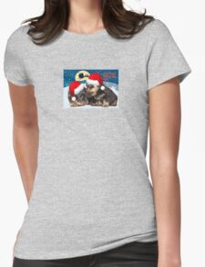 Puppy Christmas: I saw Mummy Kissing Santa Claus Vector Womens Fitted T-Shirt
