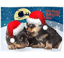 Puppy Christmas: I saw Mummy Kissing Santa Claus Vector Poster