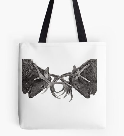 Eye 2 Eye - Elk fight Tote Bag