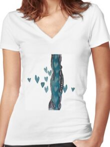 Romantic Doodles Women's Fitted V-Neck T-Shirt