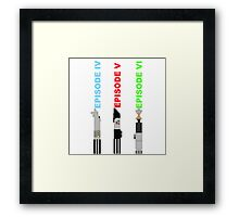 Episode 4-6 lightsabers with text Framed Print