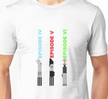 Episode 4-6 lightsabers with text Unisex T-Shirt