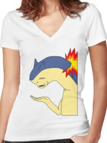 Typhlosion doesn't get it Women's Fitted V-Neck T-Shirt