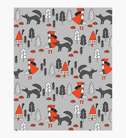 Red Riding Hood fairy tale children nursery kids pattern andrea lauren  Photographic Print