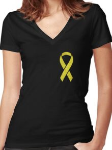 Yellow Ribbon  Women's Fitted V-Neck T-Shirt