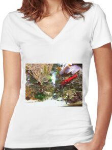 Red Fire Shrimp Women's Fitted V-Neck T-Shirt