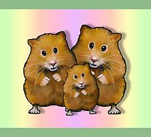 Hamster Family of Three, Colorful Background: Art by Joyce Geleynse