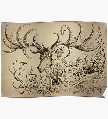 Elf and his elk Poster