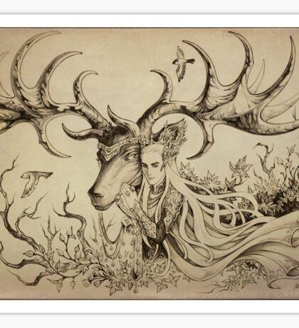 Elf and his elk Sticker