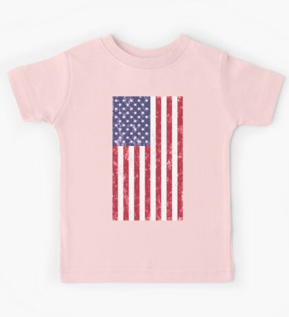 American Flag Hanging Distressed Digital Art Kids Tee