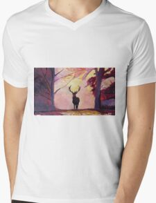 Deer coming from the glade -Style I Mens V-Neck T-Shirt