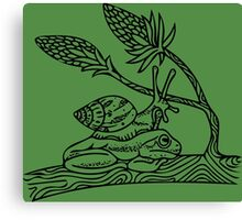 Snail on Frog Canvas Print