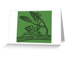 Snail on Frog Greeting Card