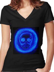 Blue skull Women's Fitted V-Neck T-Shirt