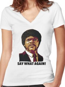 Pulp Fiction Say What Again Women's Fitted V-Neck T-Shirt