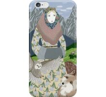 Lady with an owl and a dog iPhone Case/Skin